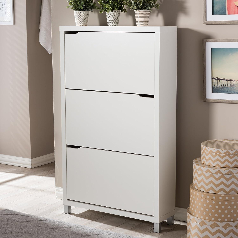 Amazon.com: Baxton Studio FP 3OUSH WHITE Simms 3 Tier Modern Shoe Cabinet,  White: Kitchen U0026 Dining