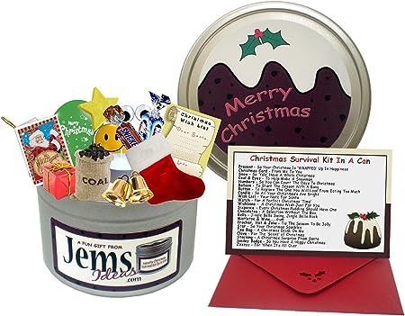 Kit de supervivencia de Navidad chistosos en una lata, de regalo divertido, regalo y tarjeta. Para un hermano/hermana/cuñado/cuñada. 25th diciembre feliz Navidad Pudding regalos tarjetas.