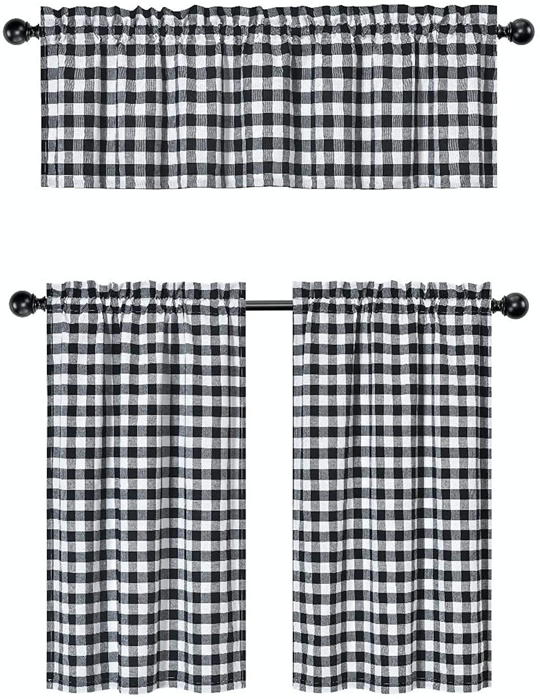 3 Pc. Plaid Country Chic Cotton Blend Kitchen Curtain Tier & Valance Set - Assorted Colors (Black)