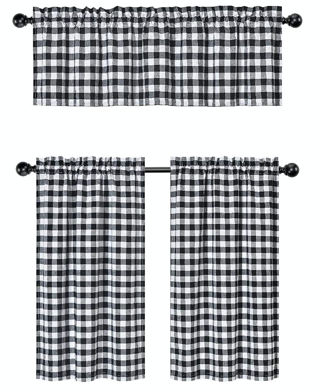 GoodGram 3 Pc. Plaid Country Chic Cotton Blend Kitchen Curtain Tier & Valance Set - Assorted Colors (Black)