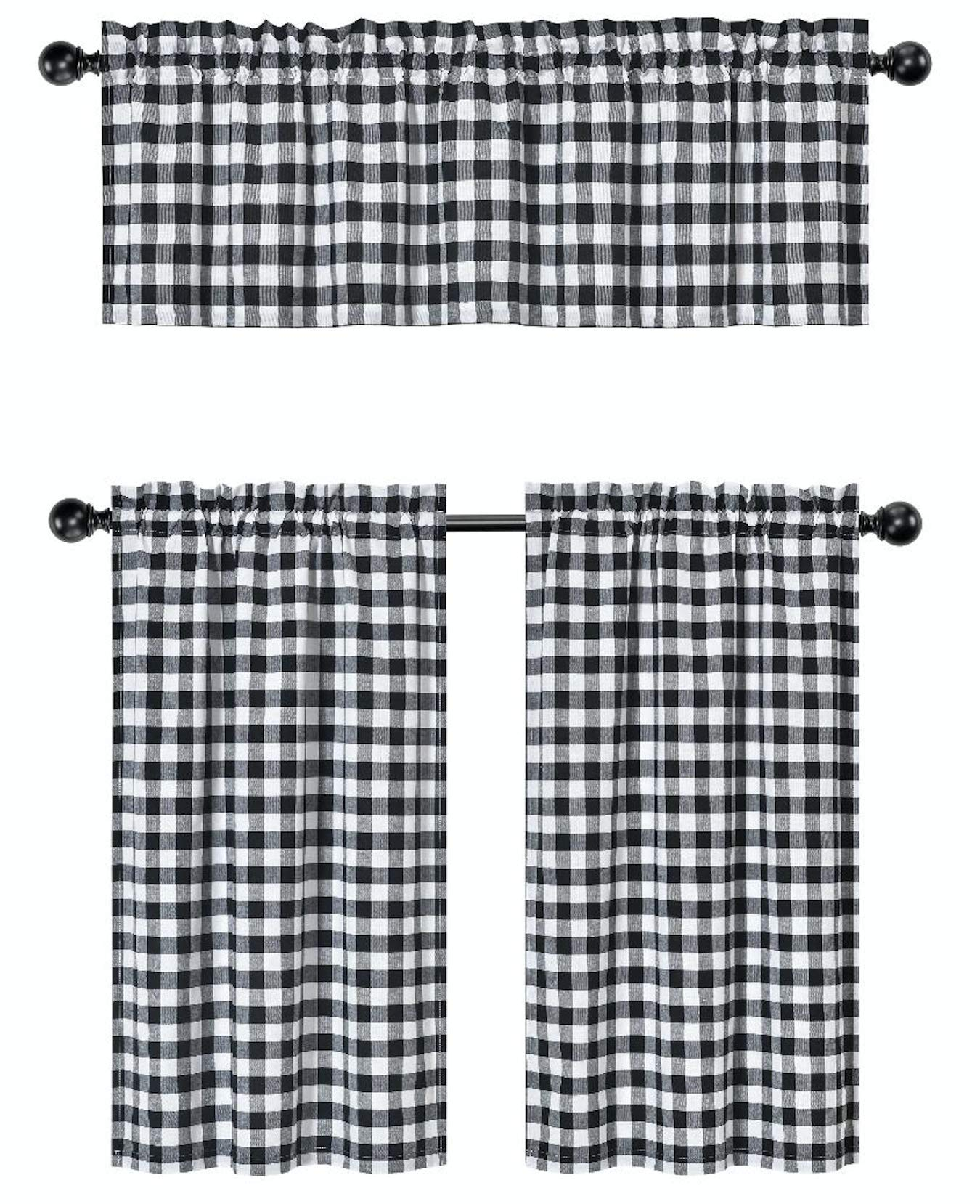 GoodGram 3 Pc. Plaid Country Chic Cotton Blend Kitchen Curtain Tier & Valance Set - Assorted Colors (Black) by GoodGram