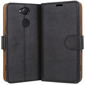 brand new 987f4 aa4fd Case Collection Premium Leather Folio Cover for Sony Xperia XA2 Case  Magnetic Closure Full Protection Book Design Wallet Flip with [Card Slots]  and ...