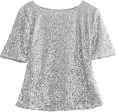08ecc363cf7a Femme T-Shirt Paillette Manches Courtes Été Blouse Tee Shirt Top   Amazon.fr  Vêtements et accessoires