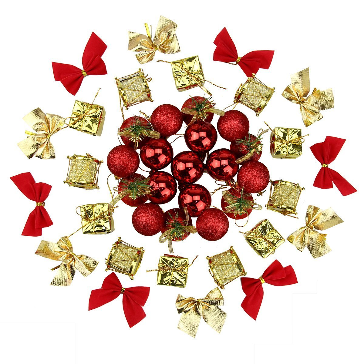 Naisidier Christmas Tree Ornaments Hanging Decoration Pendant Kit Including Christams Balls, Bowknots, Gifts Ornaments, Merry Christmas Letters, Drums and Christams Red Bells (44Pcs)