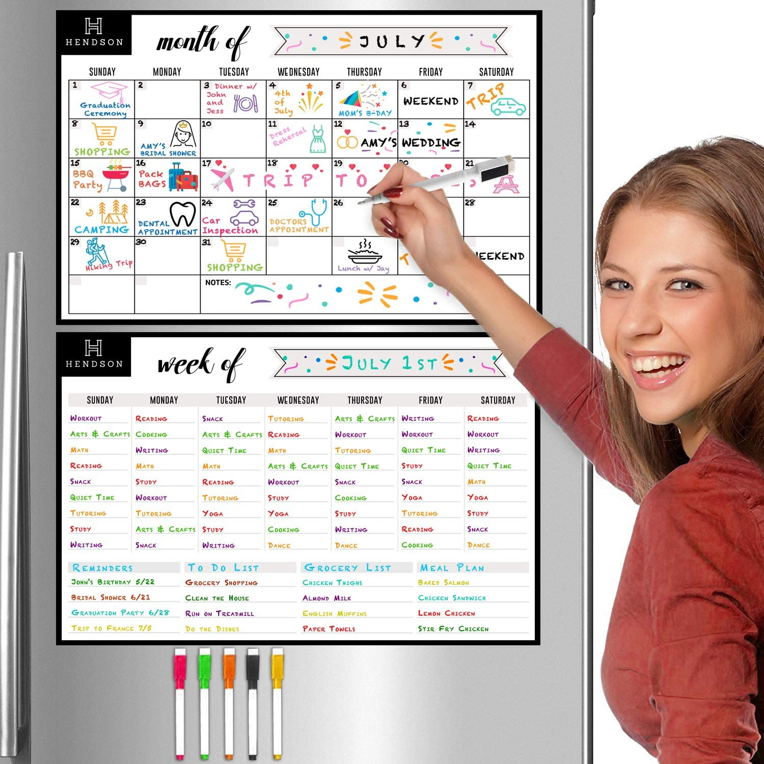 "Magnetic Dry Erase Monthly Calendar and Weekly Planner White Board Set for Kitchen Fridge – Set of Two 11"" x 17"" Multipurpose Stain Resistant Whiteboard Refrigerator Organizer Reusable Magnet Boards"