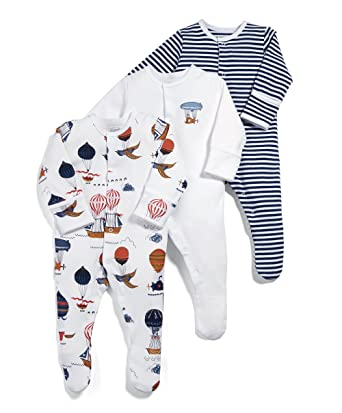 79e27546b Mamas and Papas Baby Girls  Pack of 3 Sky Sleepsuits Sleepsuits ...