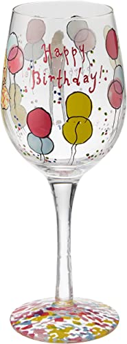 Lilly Pulitzer Hand Painted Wine Glass, Happy Birthday, Pink