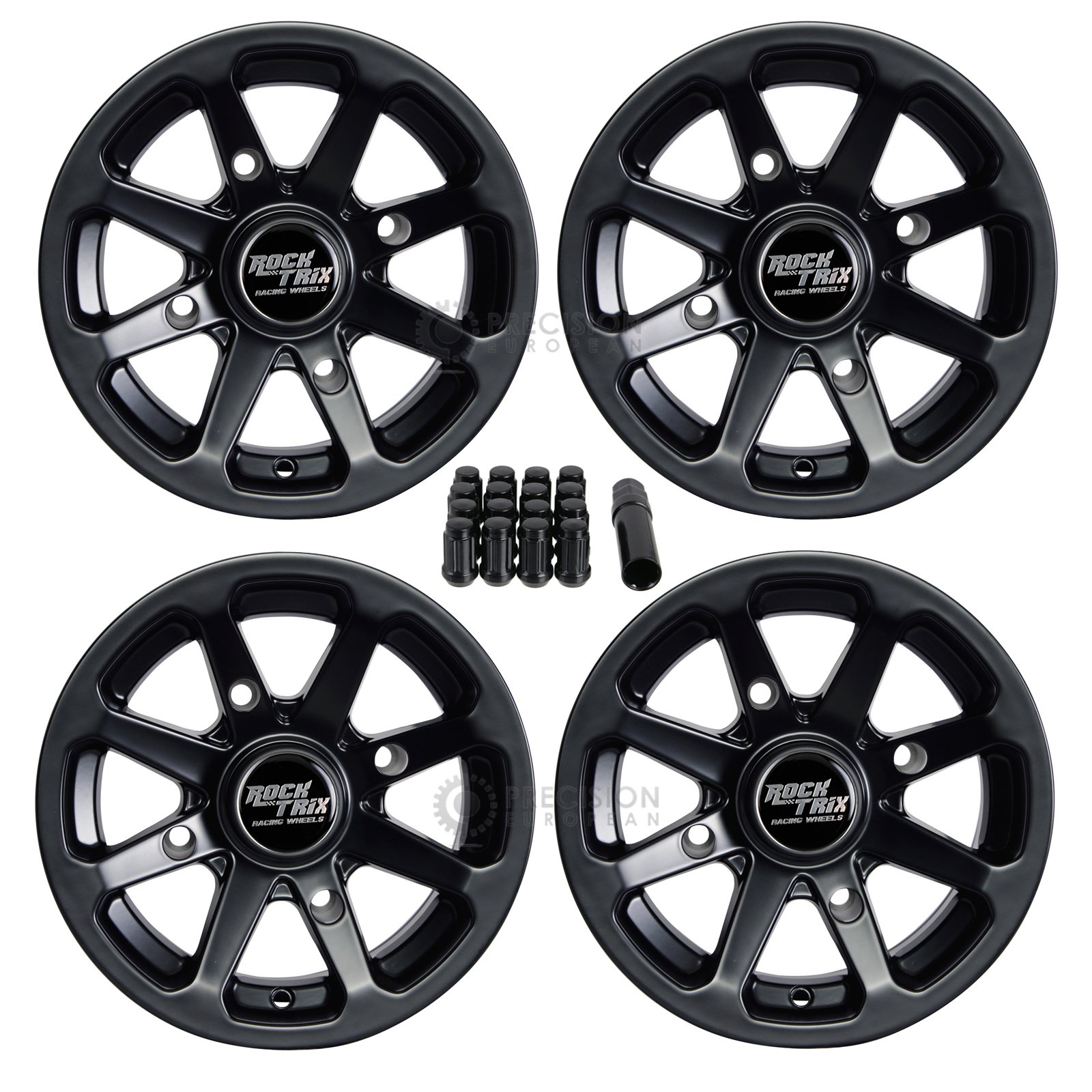 4pc 12'' RockTrix ATV Wheels 12x7 Rims Matte Black | 4x156 Bolt Pattern | 4+3 offset | includes 3/8'' Spline Lug Nuts | for many Polaris Sportsman RZR Ranger (4/156)