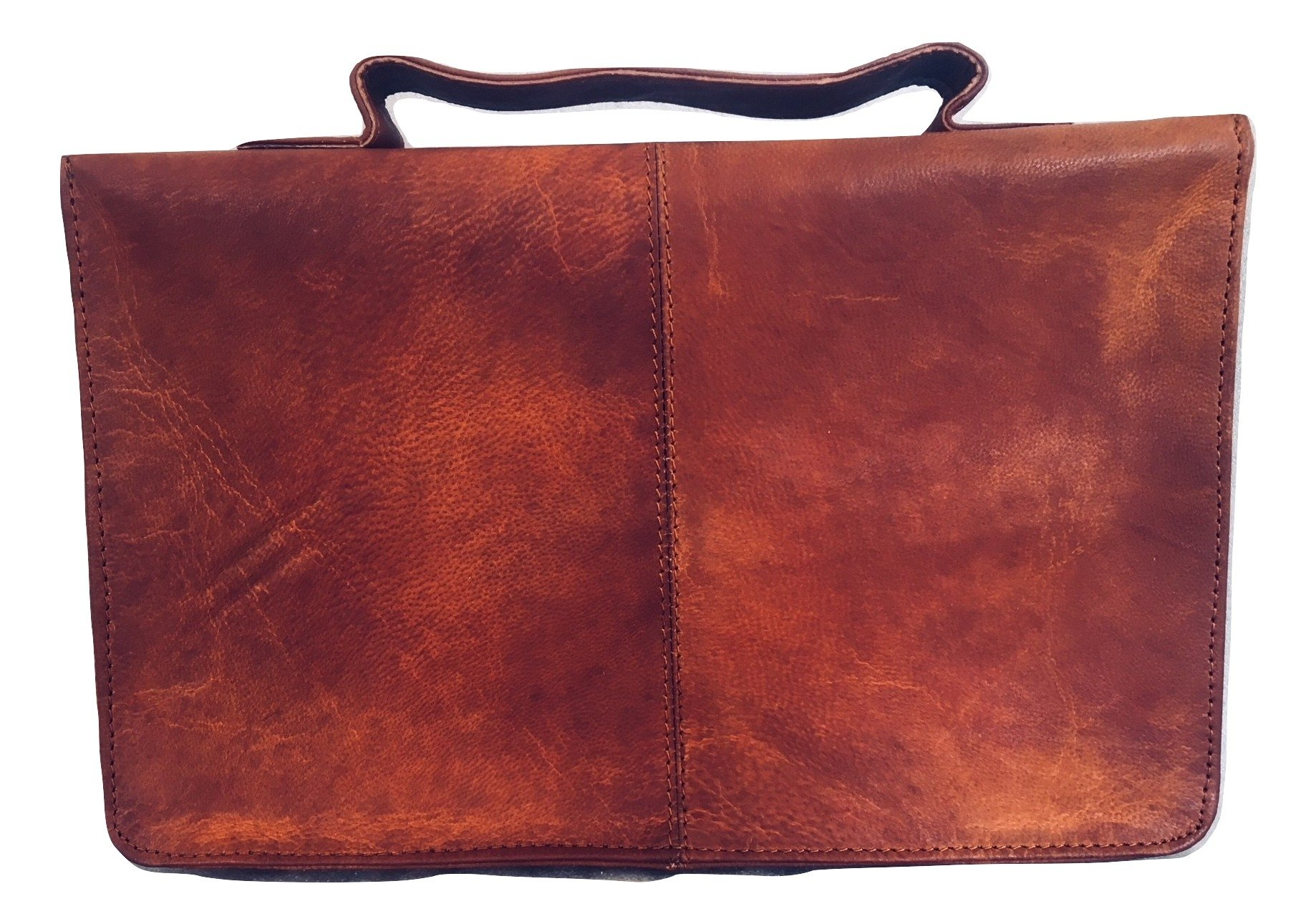 Leather Classic Bible Cover Book Cover with Back Pocket Brown