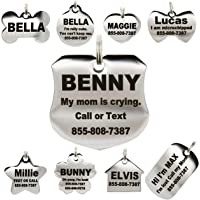 """Stainless Steel Pet ID Tags - Engraved Personalized Dog Tags, Cat Tags Front & Back up to 8 Lines of Text €"""" Bone, Round, Heart, Flower, Badge, House, Star, Rectangle, Bow Tie"""