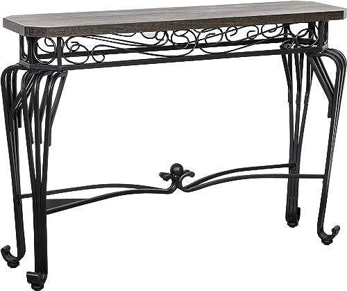 Amazon Brand Ravenna Home Wood and Metal End Table, 44 W, Dark Oak, Black Metal
