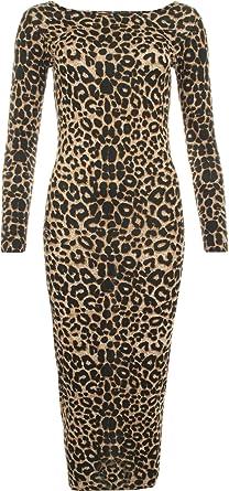 Womens Animal Leopard Print Long Sleeve Stretch Bodycon Ladies Midi Dress 8  - Brown - 8 c085571c5f