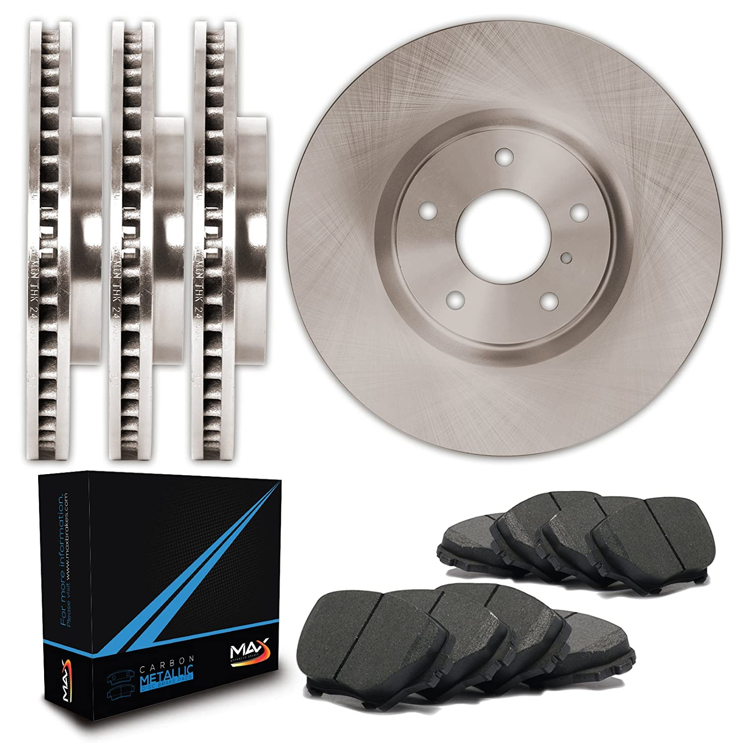 Max Brakes Front + Rear OE Series Rotors w/Metallic Pads Premium Brake Kit TA069343 | Fits: 2008 08 2009 09 2010 10 2011 11 Buick Enclave Max Advanced Brakes