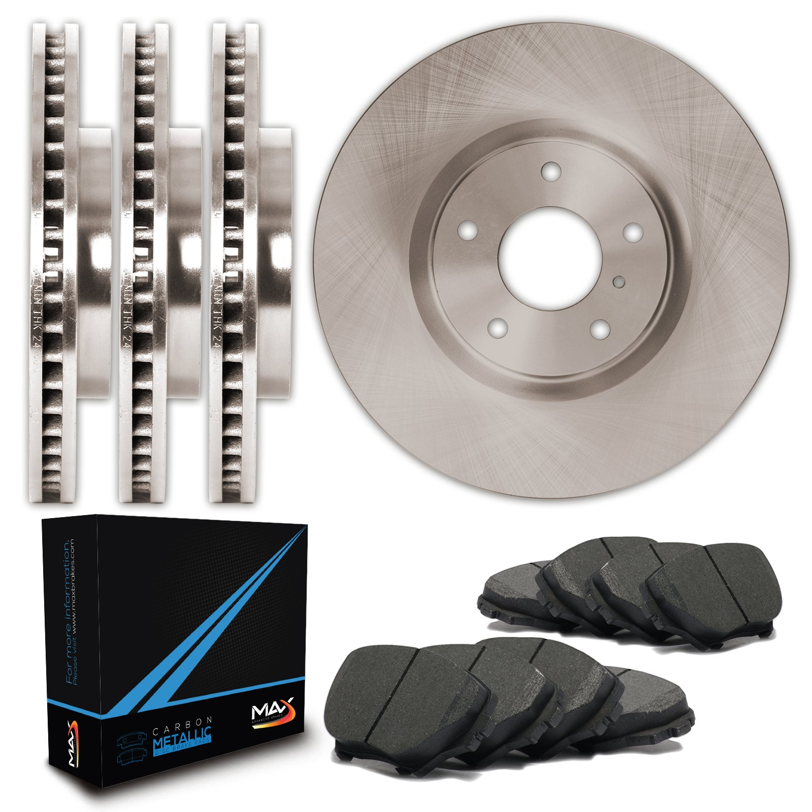 Max TA039343 Front + Rear OE Blank Replacement Rotors and Carbon Metallic Pads Combo Brake Kit by Max Advanced Brakes
