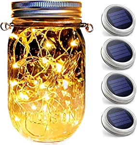 Hanging Mason Jar String Lights Lids,4 Pack 30 LED Bulbs Solar Lights with Hangers(NO Jars), Waterproof Floating Lanterns Fairy Garden Accessories Outdoor Patio Decor Christmas Decoration for Bedroom