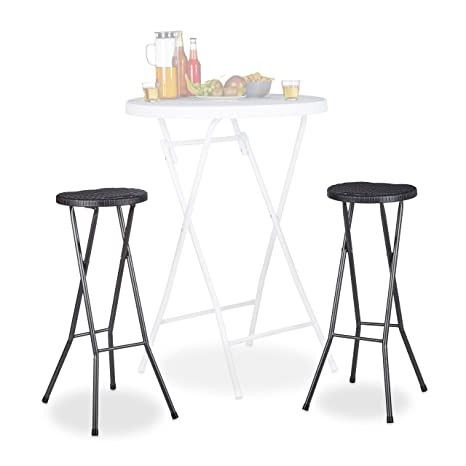 Swell Relaxdays Bastian Folding Bar Stools Set Of 2 Waterproof 80 Cm Tall Breakfast Chair Double Pack Plastic Counter Seat Black Lamtechconsult Wood Chair Design Ideas Lamtechconsultcom