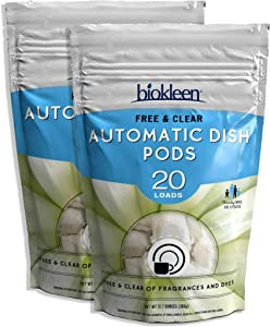 Biokleen Automatic Natural Dish Pods - 40 Pods - Dishwasher Detergent, Concentrated, Phosphate & Chlorine Free, Eco-Friendly, Non-Toxic, Free & Clear, 40 Pods