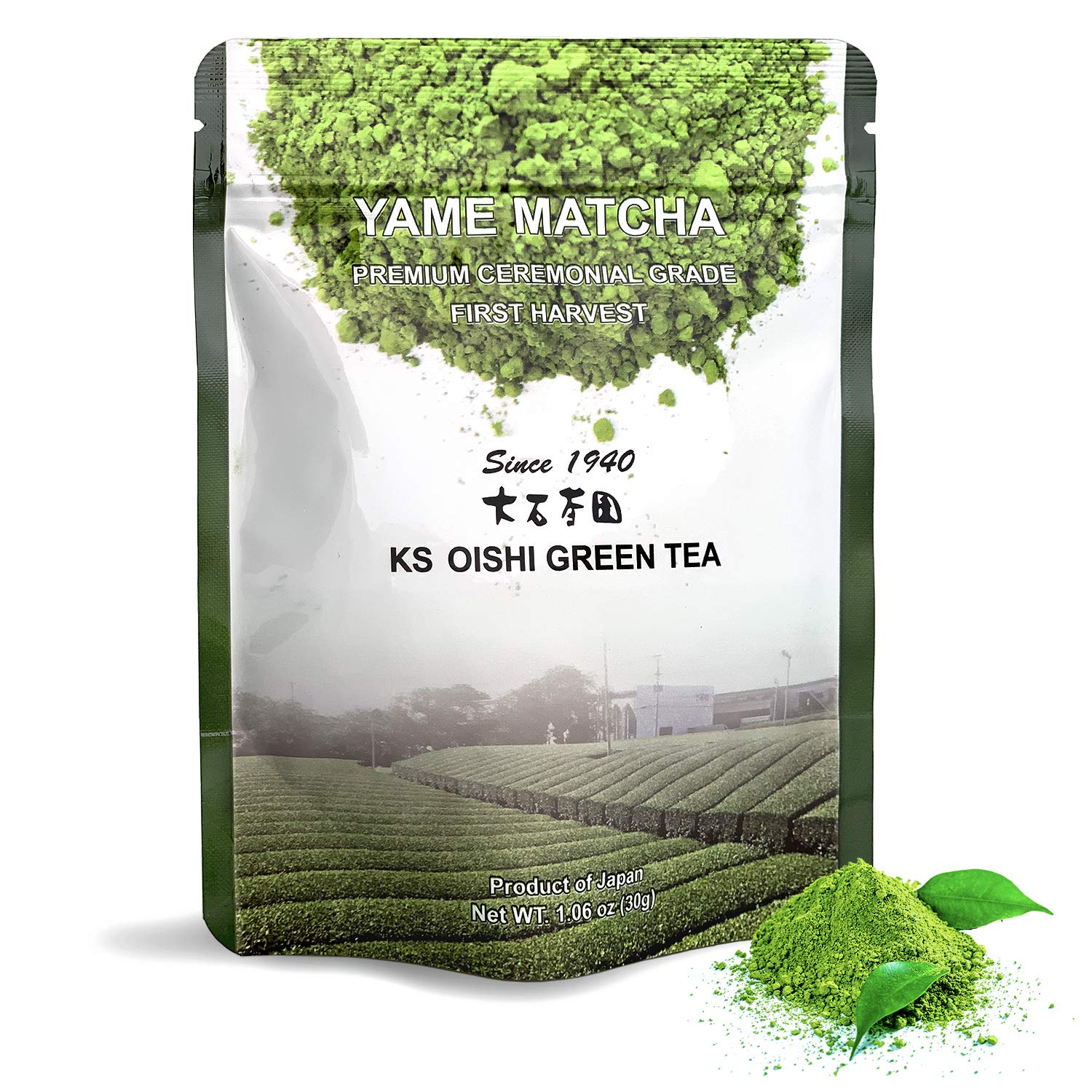 Matcha Green Tea Powder Award Winning 100% Authentic Japanese First Harvest Ceremonial Tea Yame Matcha Premium Green Tea Powder 30g bag