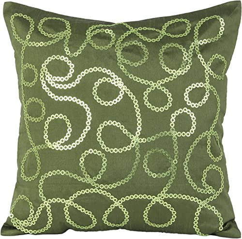 The White Petals Moss Green Decorative Pillow Cover – Sequinned Moss Green Throw Pillow Cover with Knotty Rings – for Elegant Home D cor Moss Green, 22X22 inches