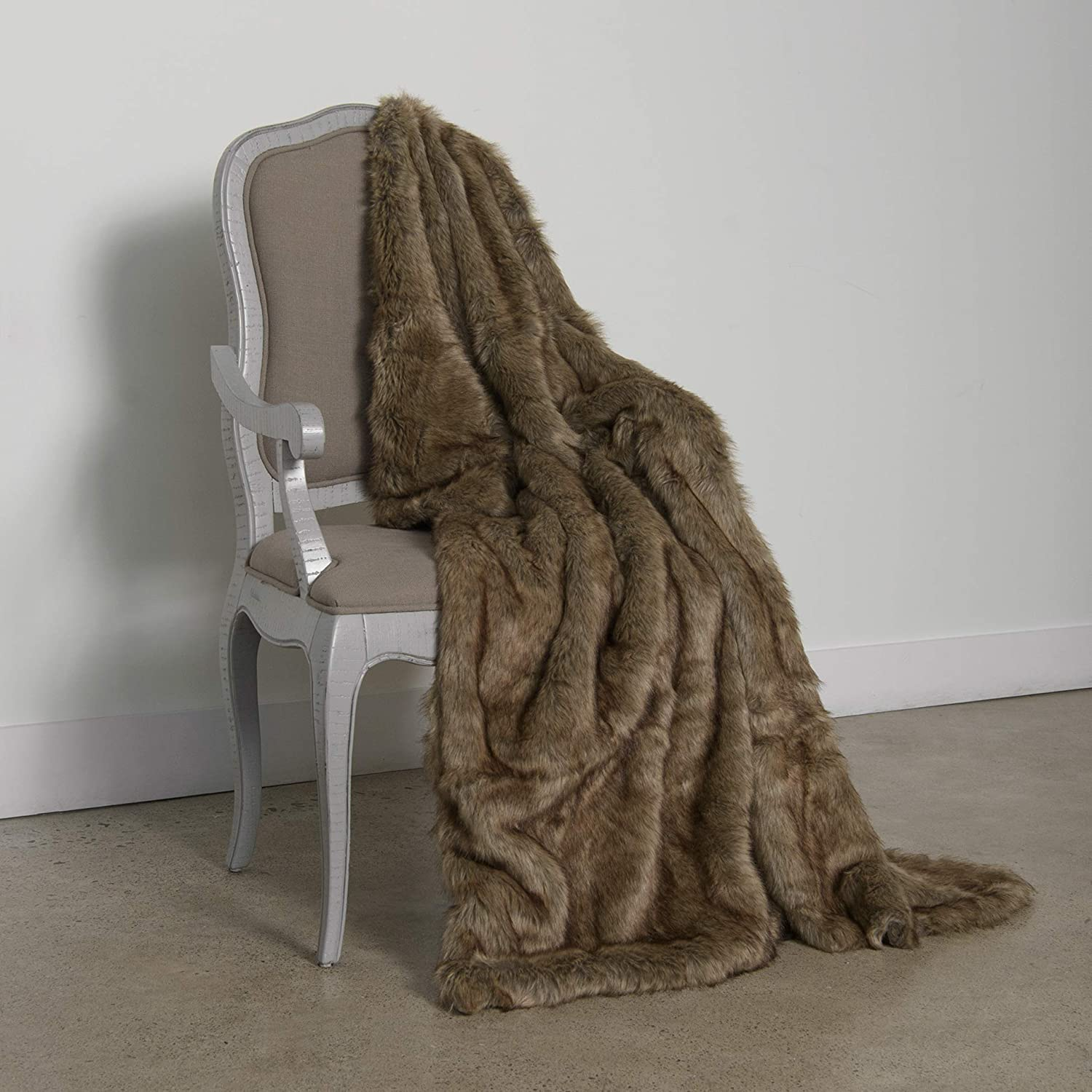 "Best Home Fashion Coyote Faux Fur Throw Blanket - 58"" W X 60"" L"