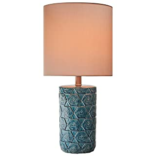 "Rivet Geometric Ceramic Table Lamp With  Bulb, 22.75""H, Ocean Blue"
