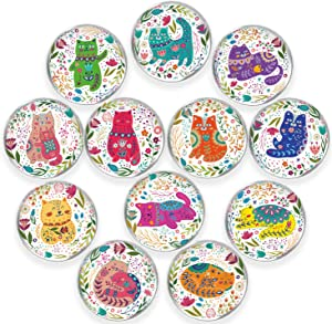 Cat Glass Refrigerator Magnets, 12 Pcs 32MM Color Cat Magnets for Fridge Office Calendar Whiteboard Photo Cabinet, Cute Gift for Cat Lovers