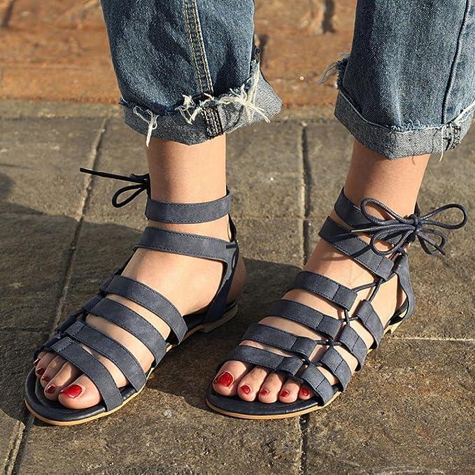 Beikoard Promozione della Moda Sandali Donna Taco Sandali da Donna Bohemia Sandali Gladiatore a Punta Aperta Sandali con Cinturino alla Caviglia