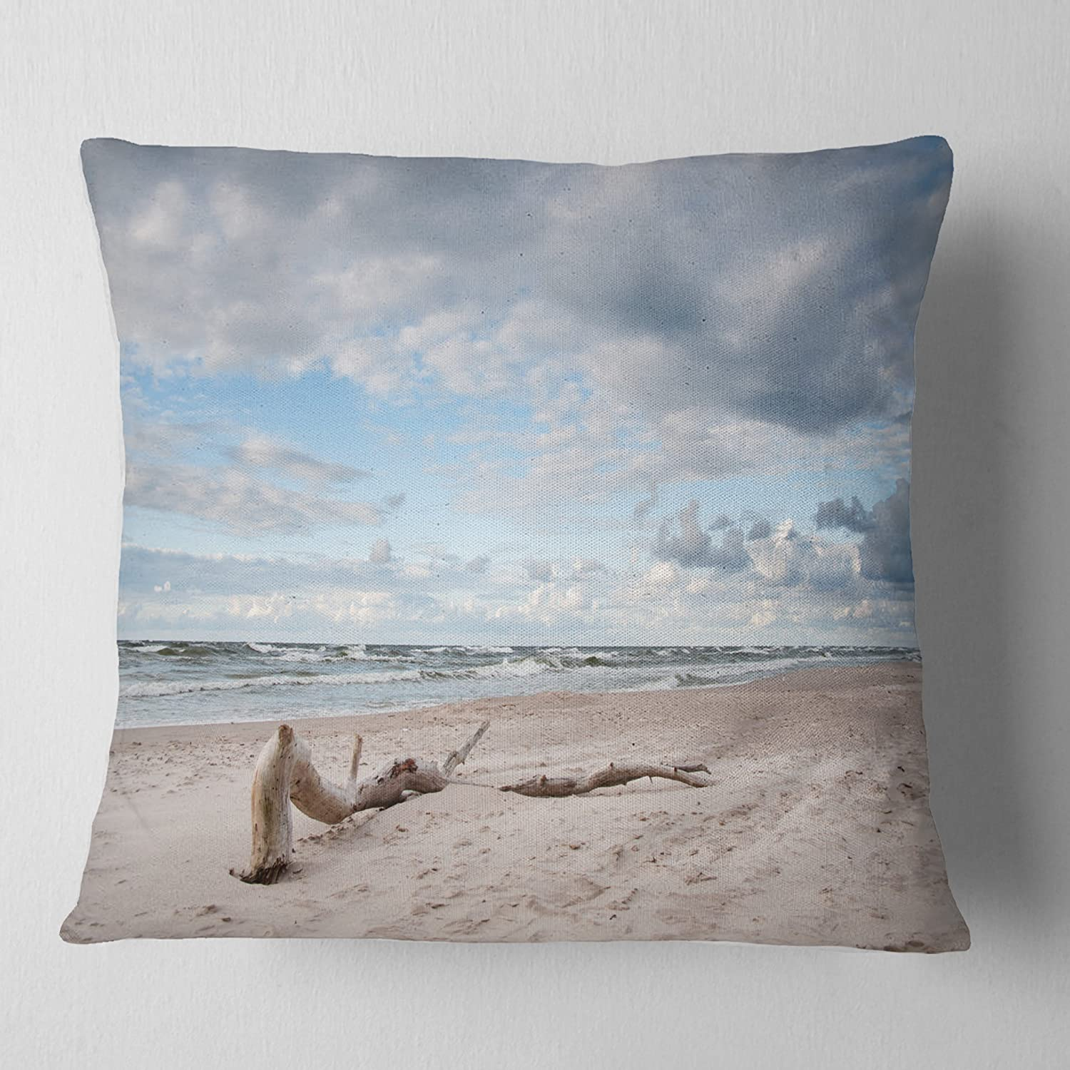 Designart CU11503-26-26 Large Piece of Wood on Beach' Modern Seascape Cushion Cover for Living Room, Sofa Throw Pillow 26 in. x 26 in. in, Insert Printed On Both Side