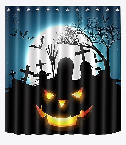LB Dead Skull In Grave Scary Moon Night Shower Curtain Set For Bathroom Spooky Halloween