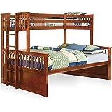 Amazoncom Furniture Of America Denny Twinxl Queen Bunk Bed Oak