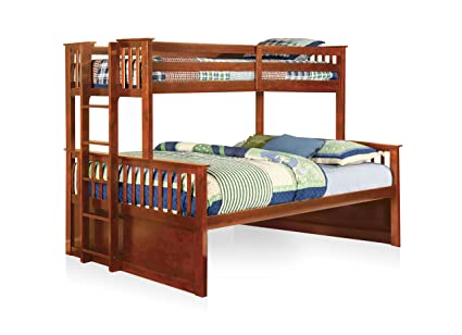 Amazoncom Furniture Of America Pammy Twin Over Queen Bunk Bed Oak