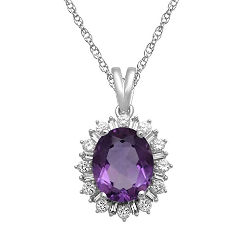 Jewelili Sterling Silver Amethyst Oval with Created White Sapphire Pendant Necklace 18