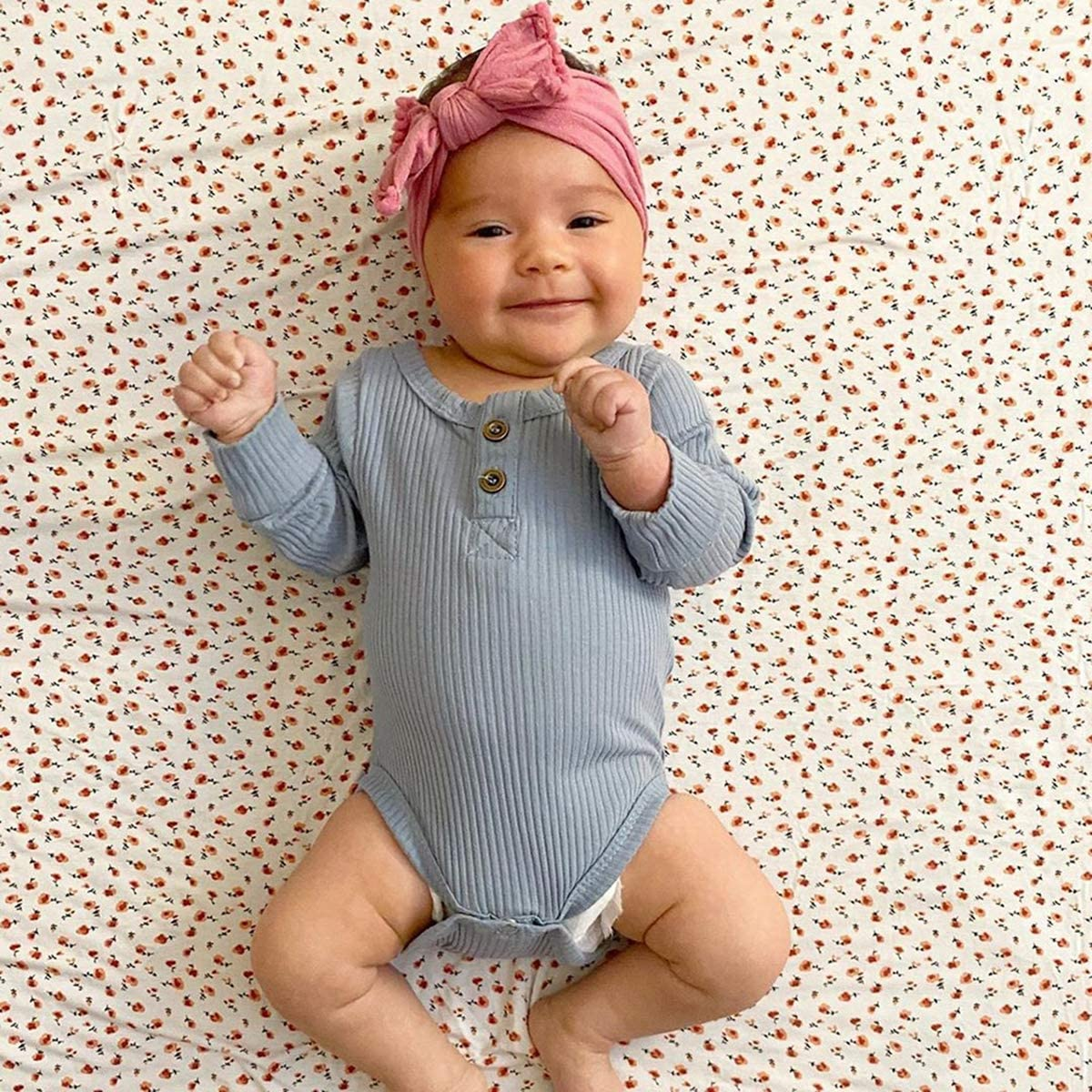 Neugeborene Unisex 2 St/ück Baby Kleidung Junge M/ädchen Solid Button Bodysuit Strampler Langarm Tops Kordelzug Hosen Strick Outfit