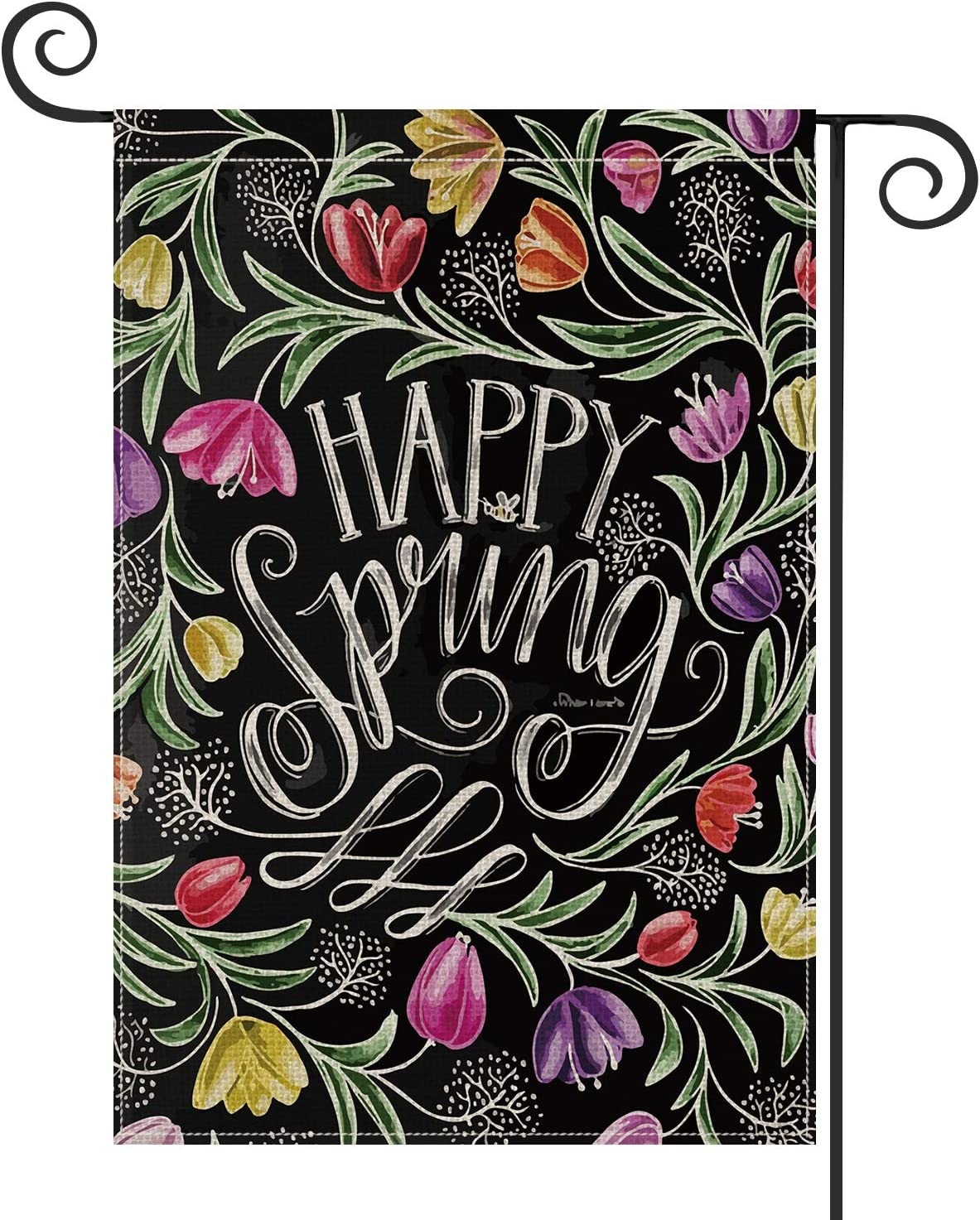 AVOIN Happy Spring Chalk Drawing Tulips Garden Flag Vertical Double Sized, Seasonal Spring Yard Outdoor Decoration 12.5 x 18 Inch