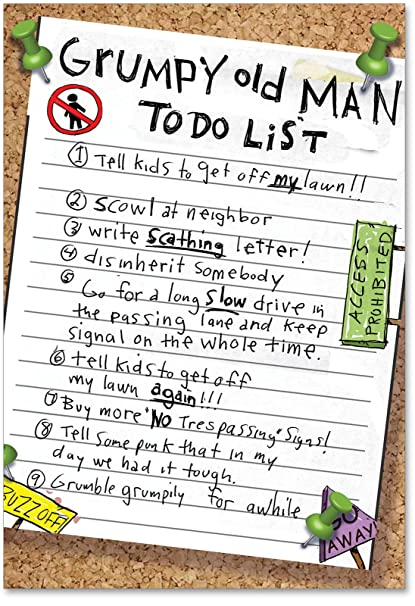 Amazon Grumpy Old Man List Unique Funny Birthday Card With