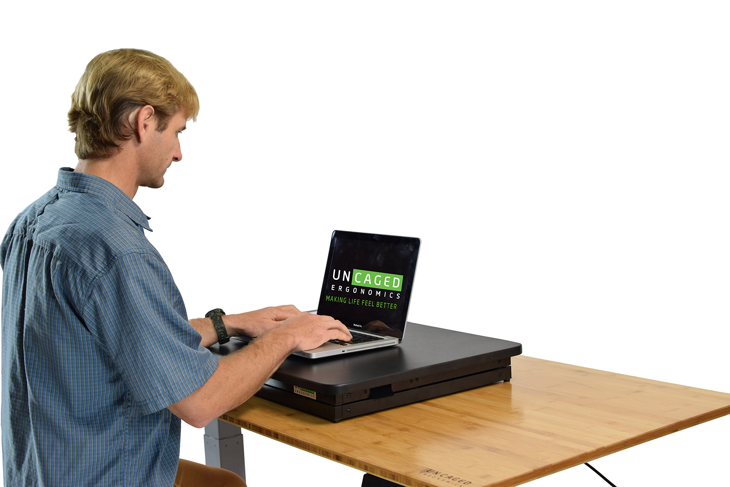 CHANGEdesk Mini Small Adjustable Height Standing Desk Converter for Laptop MacBook Single Monitor Desktop Computer Portable Lightweight Ergonomic sit Stand up Corner Riser Affordable Compact Tabletop by Uncaged Ergonomics (Image #5)