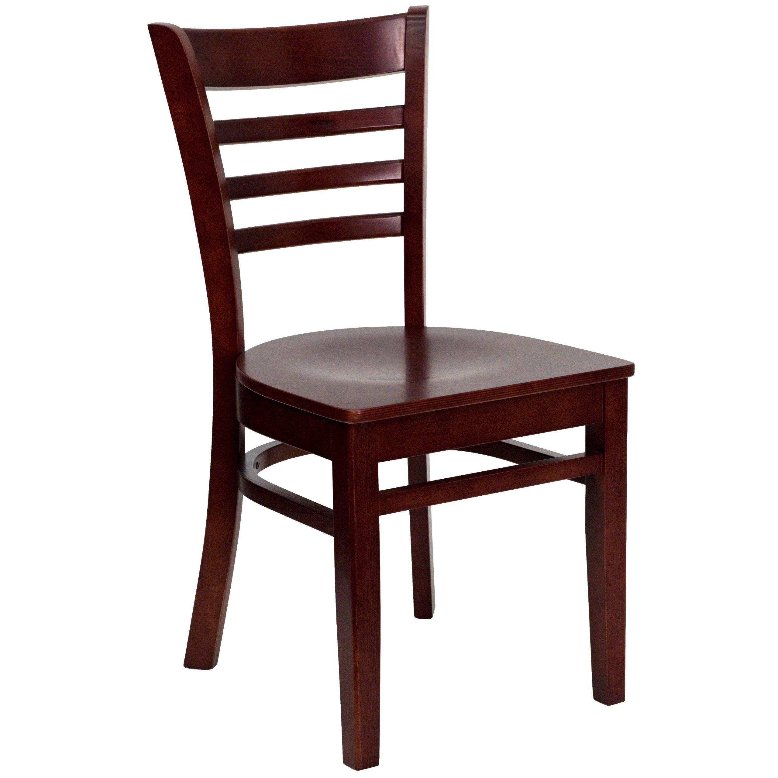 Flash Furniture HERCULES Series Ladder Back Mahogany Wood Restaurant Chair by Flash Furniture (Image #1)