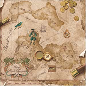York Wallcoverings BT2817 Antique Fauby Leather Pirate Map, Cork Gold/Turquoise Green/Rustic Red