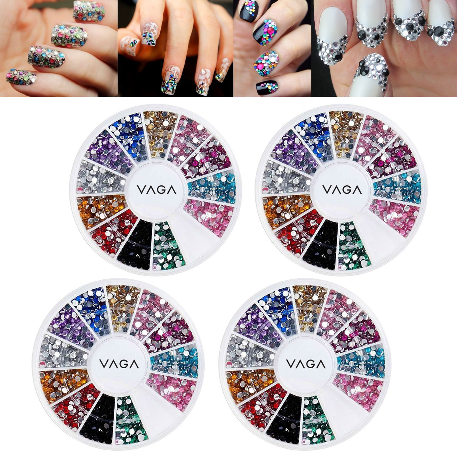 Amazing Value Set Kit of 4 High Quality Manicure 3D Nail Art Decorations Wheels With Rhinestones Gemstones Crystals Jewels In 12 Different Colors By VAGA