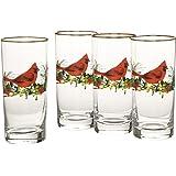 Lenox Winter Greetings Cardinal Highball Glasses (Set of 4), Clear