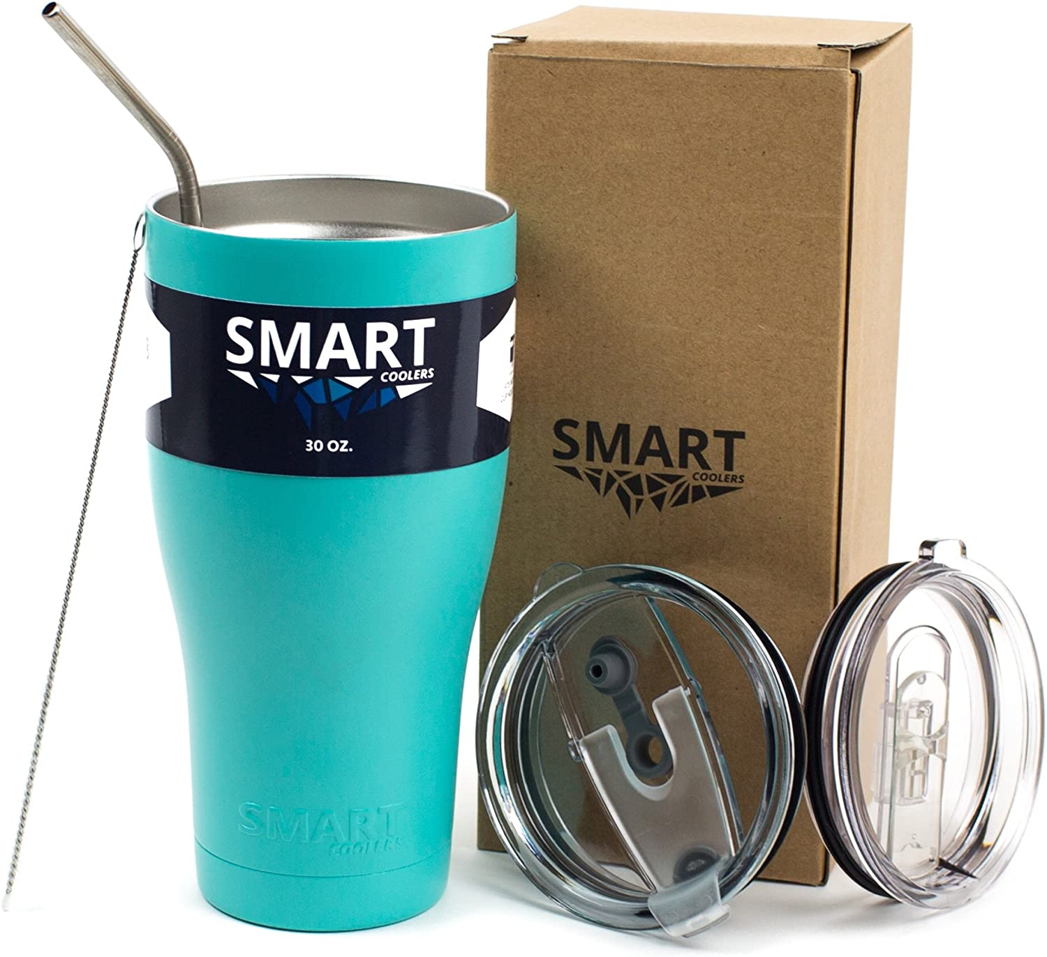 Tumbler 30 Oz Smart Cup Color - Ultra-Tough Double Wall Stainless Steel - Beast Style - Premium Insulated Mug - Powder Coated - Leak-Proof, Sliding Lid, Straw, Brush & Gift Box - Teal