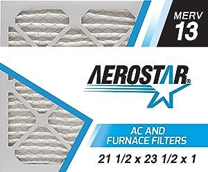 Aerostar 21 1/2x23 1/2x1 MERV 13, Pleated Air Filter, 21 1/2 x 23 1/2 x 1, Box of 6, Made in The USA