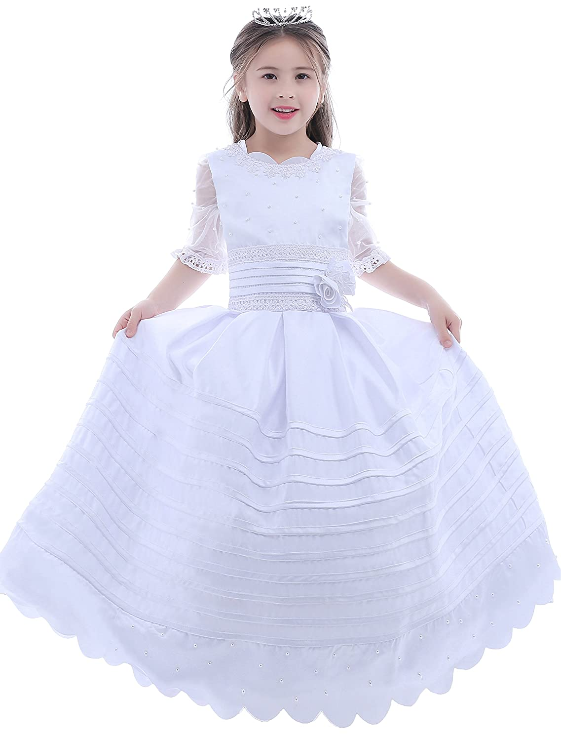 48ffccd56497 Amazon.com: Dobelove Girl's Ball Gown Half Sleeves First Communion Flower  Girl Dress: Clothing