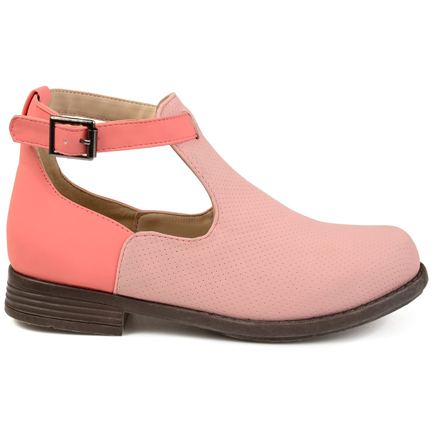 Kids Rainey Side Cut-Out Perforated Two-Tone Booties Brinley Co