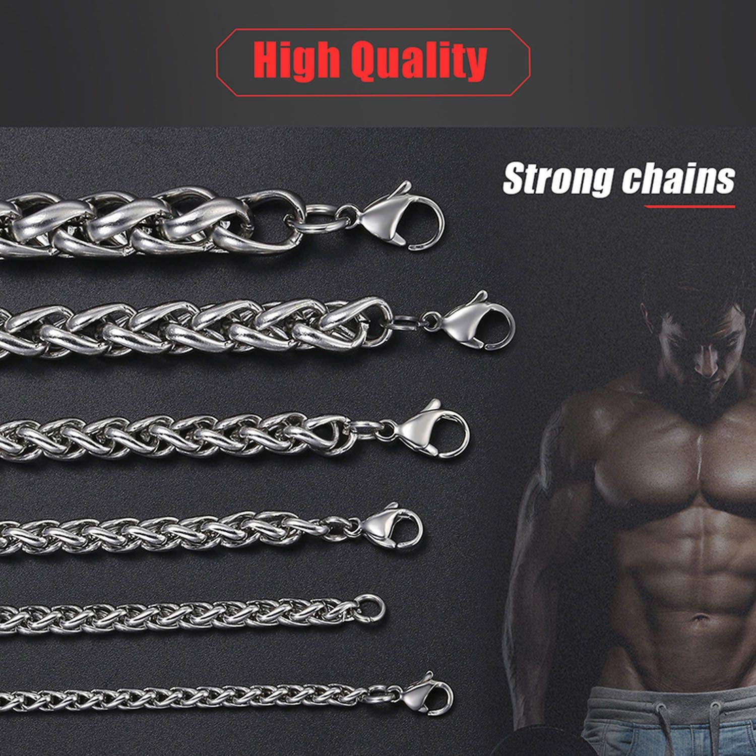 Personalized 3-10mm Mens Stainless Steel Necklace Round Wheat Link Chain Hip Hop Necklace Jewelry for Men,Width 3mm,Gold Color 32inch 80cm