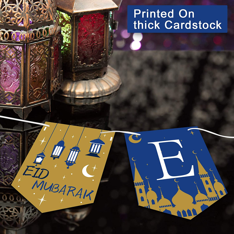 Handmade Eid Hanging Decorations Eid Garland or Bunting Eid Mubarak Banner for Decoration Lavender and Grey Lantern Banner