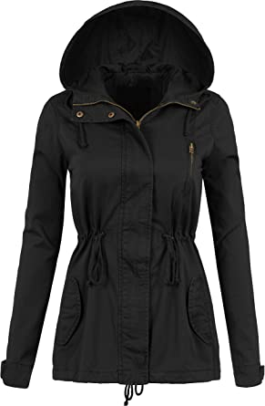 DOUBLDO Womens Fully Lined Classic Anorak Jacket with Hood and Waist Drawstring