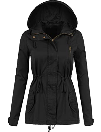 d3a25a91db0 BEKTOME Womens Hooded Anorak Jacket with Full Line and Waist Drawstring-S -BLACK