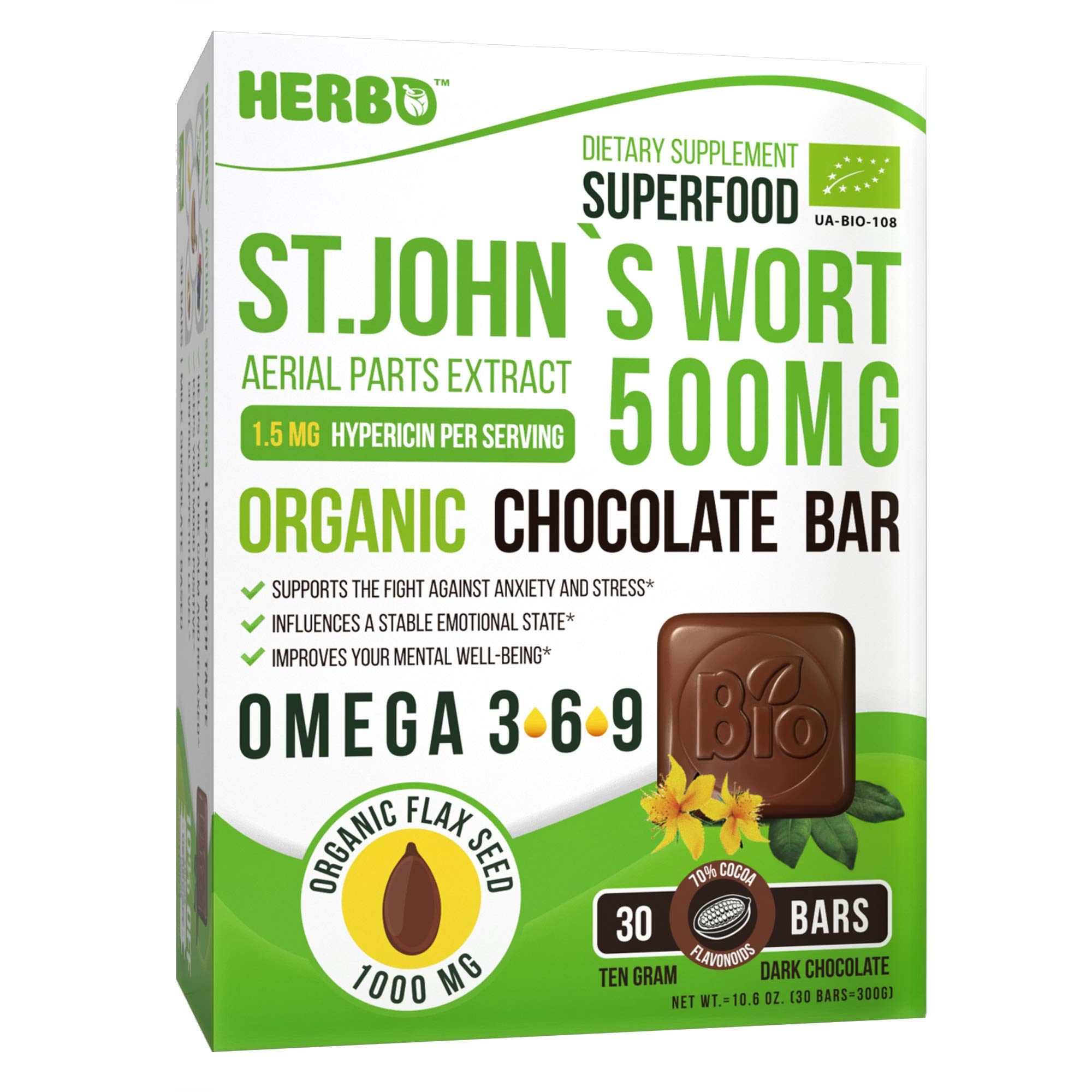 Herbo Superfood St. John's Wort Extract 500 mg 0.3% Hypericins in Organic Dark Chocolate - for Anxiety, Depression and Stress Relief - 30 Omega-3 Enriched Bars - Non-GMO, Gluten Free