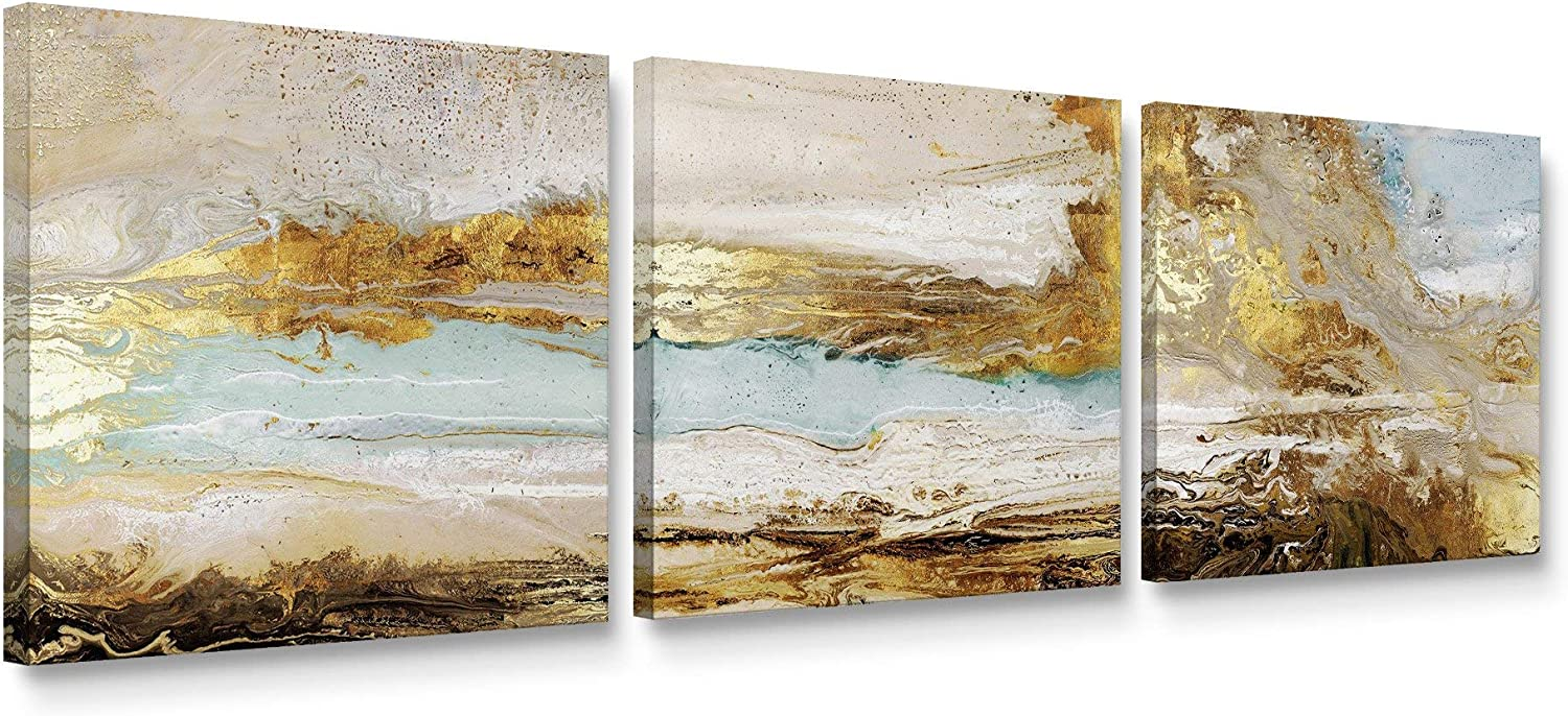 Amazon Com Niwo Art Abstract Gold And Teal 3 Panel Triptych Canvas Wall Art Home Decor Gallery Wrapped Stretched Framed Ready To Hang 24 X24 X3 4 Posters Prints
